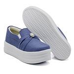 Slip On Pérola Sola Alta Jeans Claro DKShoes