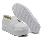 Slip On Pérola Sola Alta Branco DKShoes