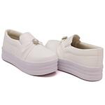 Slip On Pérola Sola Alta Branco DKShoes