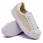 Tênis Casual Pietra Matelassê Branco com Rosê DKShoes