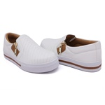Slip On Pietra Costura Branco Caramelo DKShoes