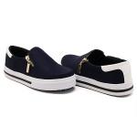 Slip On Zíper Azul Marinho Verniz Branco DKShoes