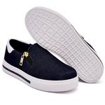 Slip On Zíper Jeans Verniz Branco DKShoes