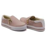 Slip On Zíper Rosê Verniz Branco DKShoes