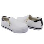Slip On Zíper Branco Verniz Preto DKShoes