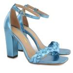 Sandália Salto Grosso Trança Azul Metalizado Vitória Lugo