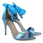 Sandália Gisele Bico Folha Cetim Azul Metalizado Vitória Lugo