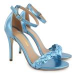 Sandália Gisele Trança Azul Metalizado Vitória Lugo