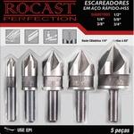 Jogo 5 Escareadores em Aço Rápido HSS 1/4pol a 3/4pol 250,0006 ROCAST