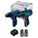 Combo Furadeira/Parafus. GSR 120-Li + Chave de Impacto GDR 120-Li à Bateria (2.0 Ah) + Acess - Bosch
