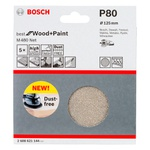 Disco de Lixa Bosch M480 Best for Wood & Paint; 125mm G80 Pacote com 5 unidades