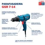 Parafusadeira e Furadeira Bosch GSR 7-14 E 400W cabo de 4m