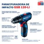 Parafusadeira e Furadeira de Impacto a Bateria de 3/8'' Bosch GSB 120-LI, 12V, com 1 Bateria 2,0Ah, 1 Carregador Rápido BIVOLT