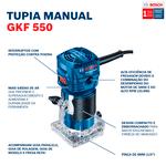 Tupia Bosch GKF 550 com 550W, com 2 Pinças