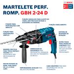 Martelo Perfurador Rompedor Bosch GBH 2-24 D 820W 2,7J EPTA em Maleta