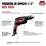 Furadeira de Impacto Skil 6555 570W 127V, com 14 Brocas