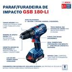 Parafusadeira e Furadeira de Impacto de ½'' GSB 180-LI, 18V, sem Bateria e sem Carregador - Bosch