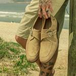 Sapato Masculino Monk Strap Bege Wedge