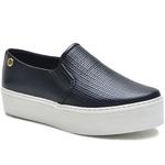 Sapato Slip On em Couro Preto Trama