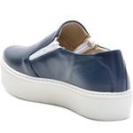 Sapato Slip On em Couro Azul com zíper Lateral