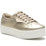 Sapato Slip On em Couro Cadarço Casual Dourado