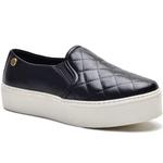 Sapato Slip On em Couro Preto Matelasse