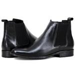 Botina Chelsea Boots Preta couro liso legítimo