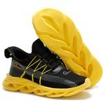 Tênis Esportivo Masculino Fit Para Treino Option Preto C/ Amarelo