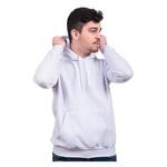 Moletom Masculino Liso Canguru Capuz Bolso Branco