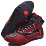 Tênis para motociclista com refletivo de cano alto de couro Bordô
