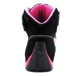Tênis para motociclista com refletivo de cano alto de couro Pink
