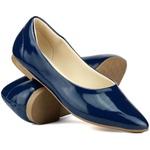 Sapatilha Feminina Bico Fino em Verniz Azul