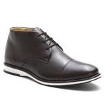 Sapato Brogue Amsterdã Cano Alto Raphaello Footwear Couro Legítimo Café
