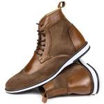 Bota Brogue Couro Legítimo Raphaello Footwear Texas Castor