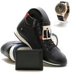 Bota Masculina Cano Médio Preta em couro + relógio carteira e cinto