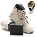 Bota Masculina Cano Médio Gelo em couro + relógio carteira e cinto