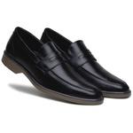 Sapato Social Masculino Preto Confortável Solado em Borracha Bege