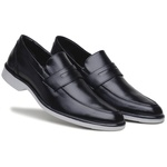 Sapato Social Masculino Preto Confortável Solado em Borracha Bege Cinza