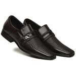 Sapato Social Masculino Confortável Solado em Borracha Café
