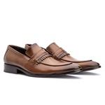 Sapato Couro Premium Loafer Gravata Premium Masculino Caramelo