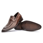 Sapato Couro Premium Loafer Premium Masculino Café Cromo