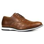 Sapato Masculino Oxford Brogue Couro Legítimo Xadrez Whisky