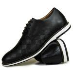 Sapato Masculino Oxford Brogue Couro Legítimo Xadrez Preto