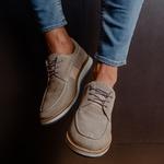 Sapato Masculino Derby Premium em Elástico Cinza Camurça