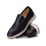 Sapato Masculino Loafer Premium em Couro Legitimo Preto Croco