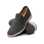 Sapato Masculino Loafer Premium em Couro Legitimo Cinza Camurça