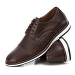 Sapato Brogue Premium em Couro Confort Tchwm Shoes Café