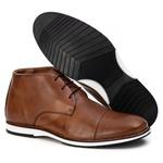 Sapato Brogue Cano Alto Premium em Couro Confort Tchwm Shoes Caramelo