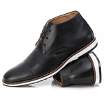 Sapato Brogue Cano Alto Premium em Couro Confort Tchwm Shoes Preto