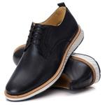 Sapato Masculino Derby Elite em Couro Legítimo Preto